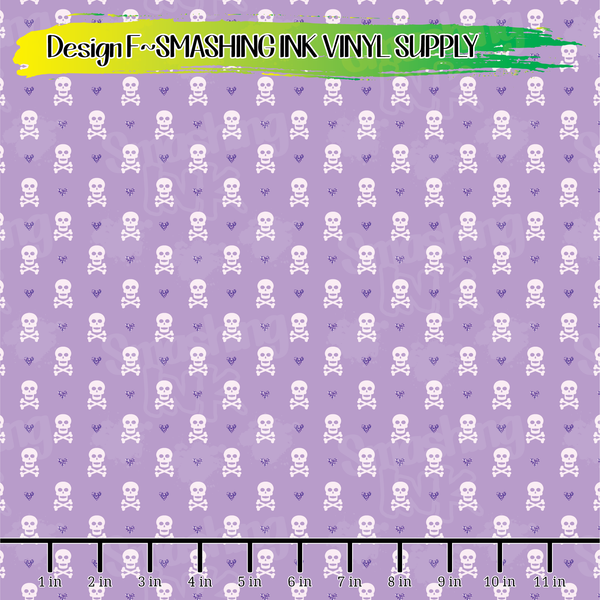 Purple Girly Skulls  - Pattern Vinyl (READY IN 3 BUS DAYS)