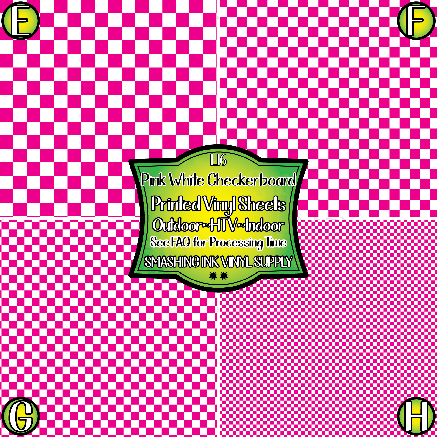 Pink White Checkerboard - Pattern Vinyl (READY IN 3 BUS DAYS)
