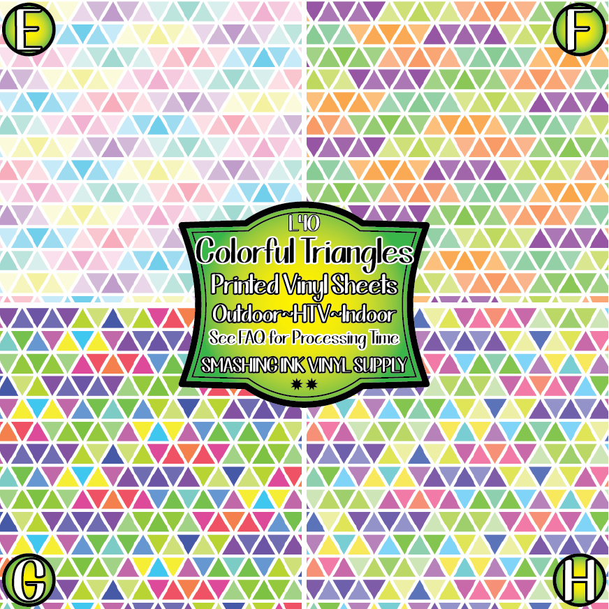 Colorful Triangles - Pattern Vinyl (READY IN 3 BUS DAYS)