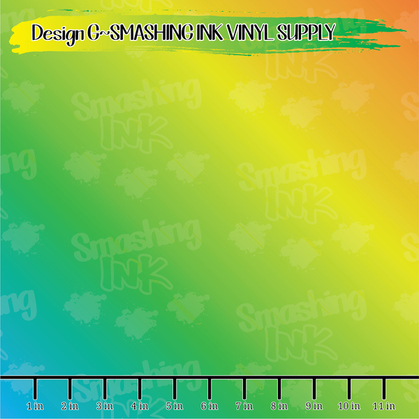 Orange Blue Yellow Ombre - Pattern Vinyl (READY IN 3 BUS DAYS)