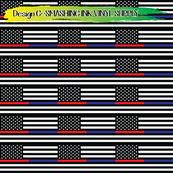 Red/Blue Line Flag - Pattern Vinyl (READY IN 3 BUS DAYS)