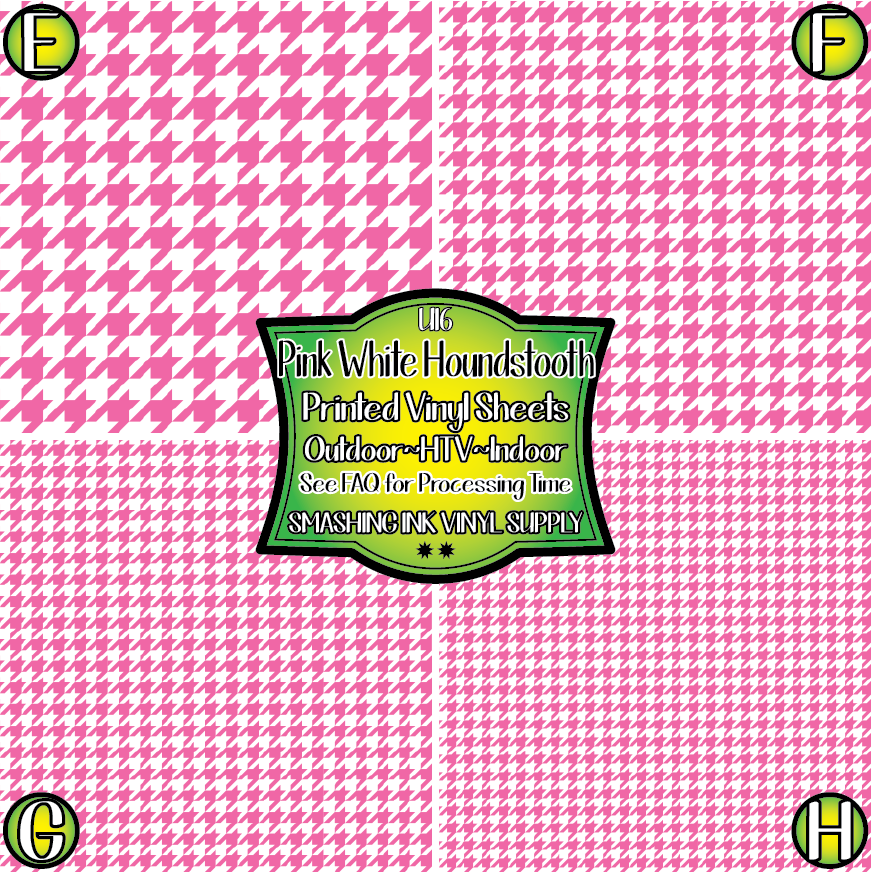 Light Pink White Houndstooth - Pattern Vinyl (READY IN 3 BUS DAYS)