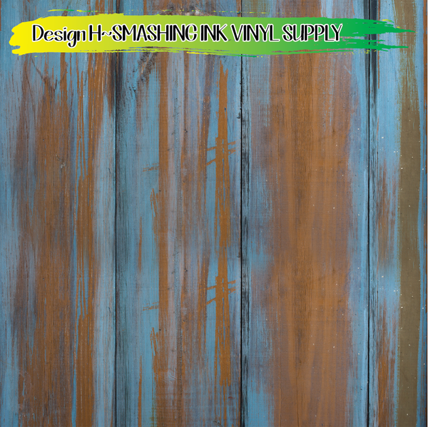 BLUE TINTED WOOD- Patterned Vinyl
