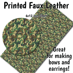 Military Camo - Faux Leather Sheet (SHIPS IN 3 BUS DAYS)