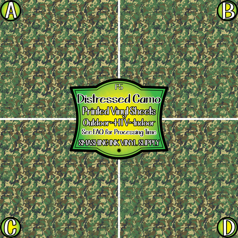 Distressed Military Camo - Pattern Vinyl (SHIPS IN 3 BUS DAYS)