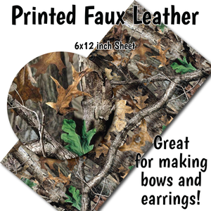 Hunting Camo - Faux Leather Sheet (SHIPS IN 3 BUS DAYS)