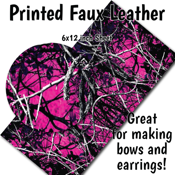Pink Hunting Camo - Faux Leather Sheet (SHIPS IN 3 BUS DAYS)