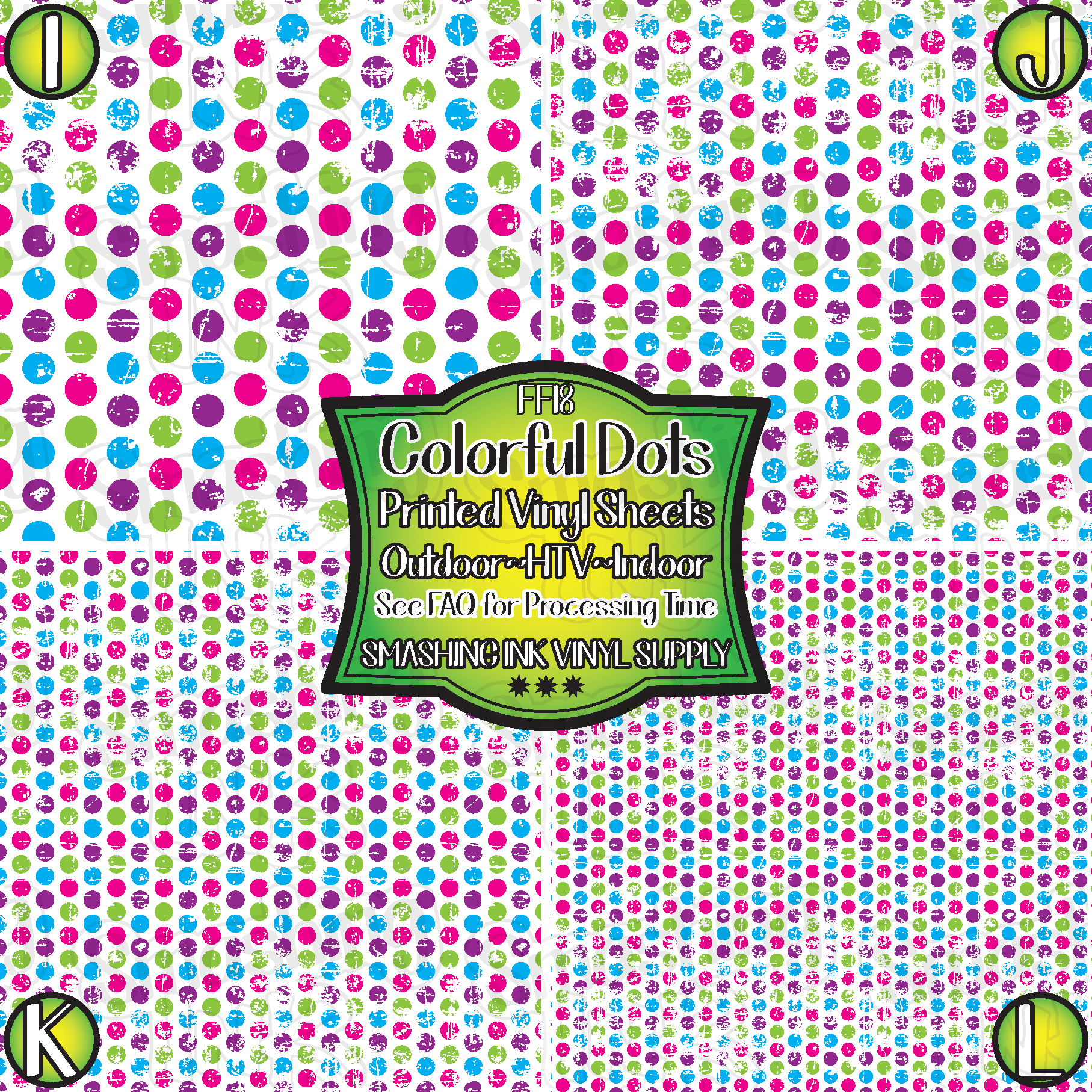 Grunge Colorful Dots - Pattern Vinyl (READY IN 3 BUS DAYS)