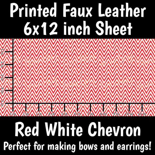 Red White Chevron - Faux Leather Sheet (SHIPS IN 3 BUS DAYS)