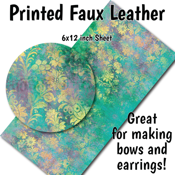 Distressed Floral - Faux Leather Sheet (SHIPS IN 3 BUS DAYS)