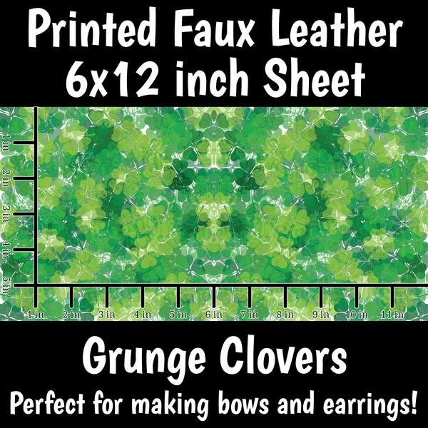 Grunge Clovers - Faux Leather Sheet (SHIPS IN 3 BUS DAYS)