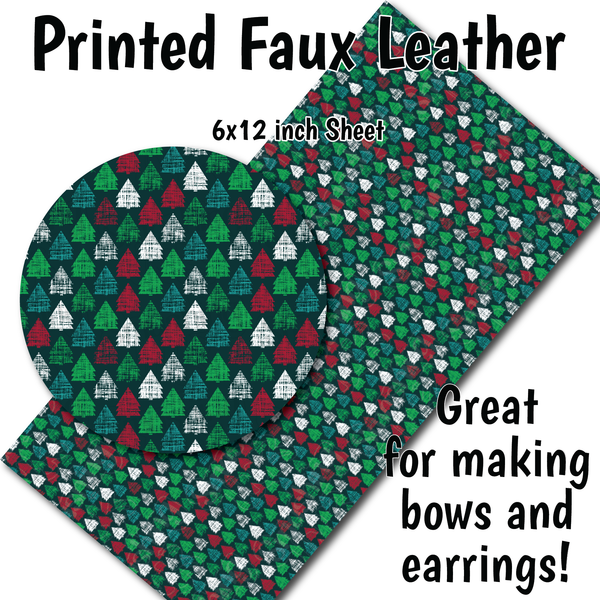 Grunge Holiday Trees - Faux Leather Sheet (SHIPS IN 3 BUS DAYS)