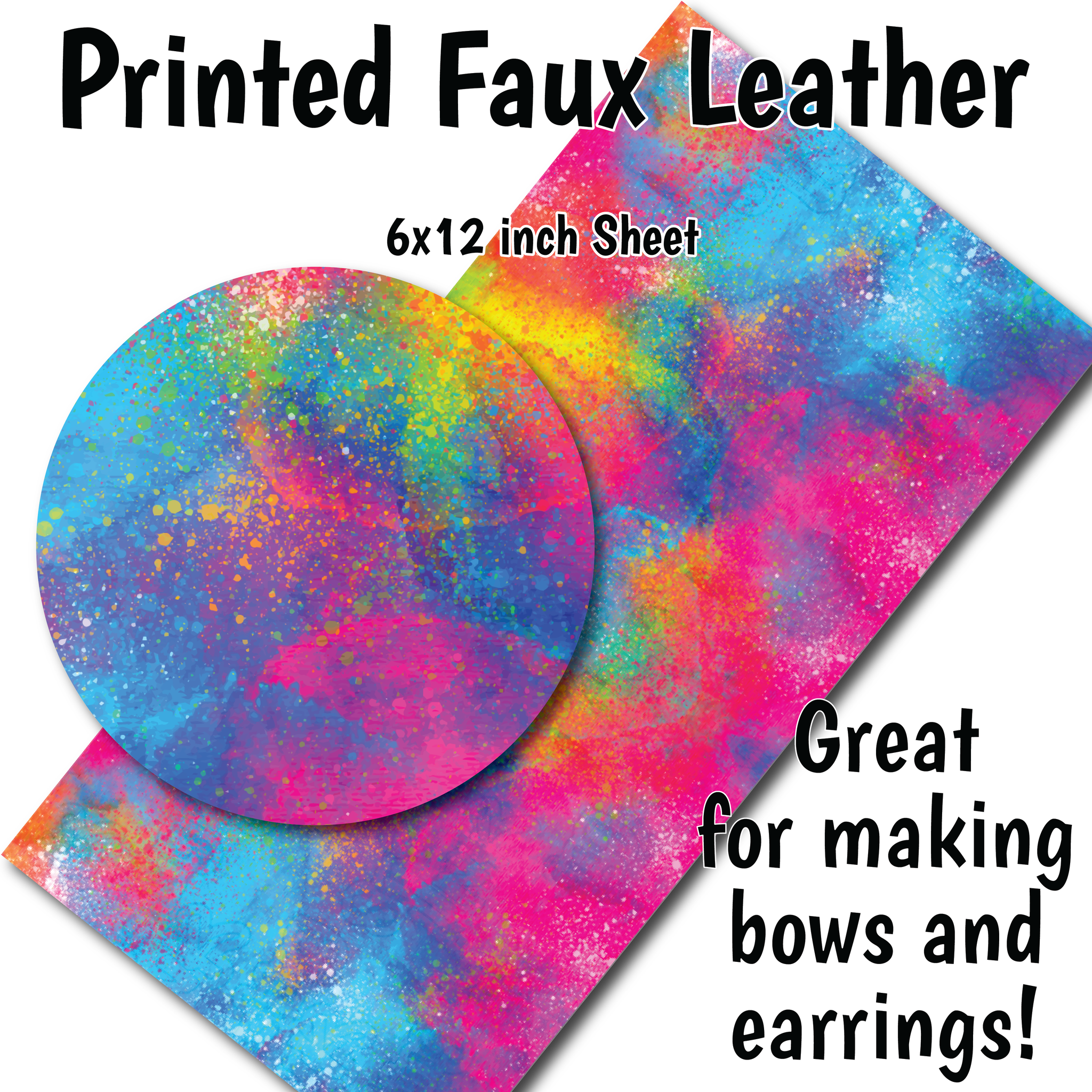 Colorful Splatter - Faux Leather Sheets (SHIPS IN 3 BUS DAYS)