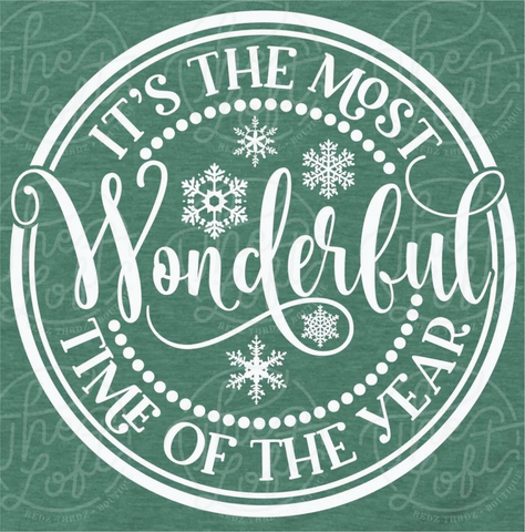 Most Wonderful Time - White Ink - Screen Printed Transfer