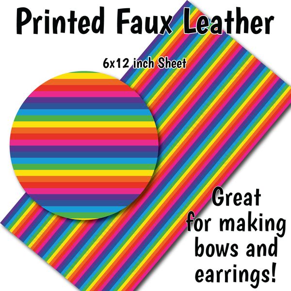 Small Scale Rainbow Stripes - Faux Leather Sheet (SHIPS IN 3 BUS DAYS)