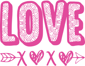 Love/XOXO - Pink Ink - Screen Printed Transfer