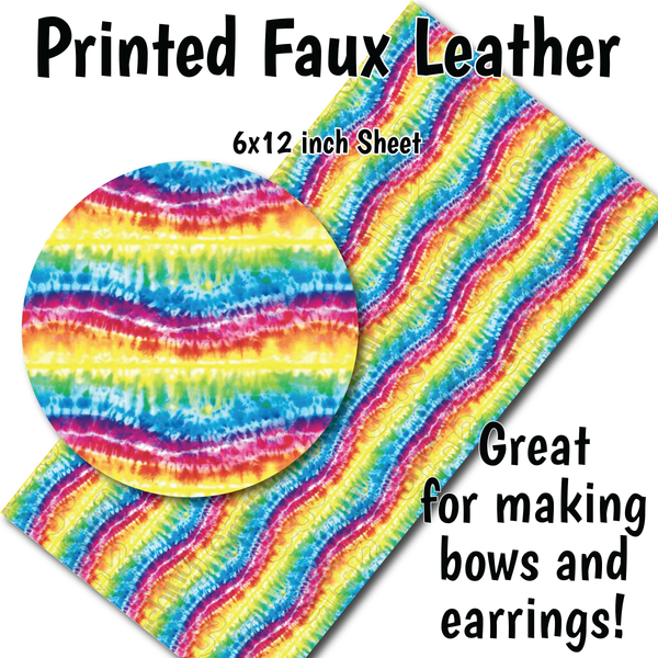 Colorful Tie Dye- Faux Leather Sheet (SHIPS IN 3 BUS DAYS)