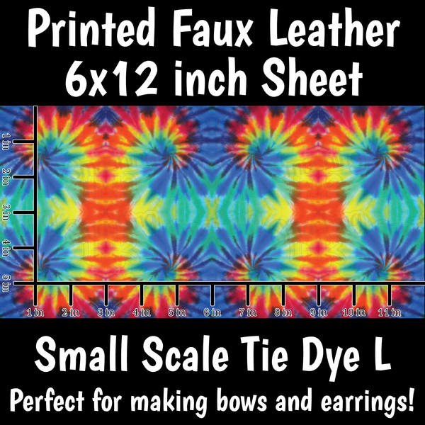Small Scale Tie Dye L - Faux Leather Sheet (SHIPS IN 3 BUS DAYS)