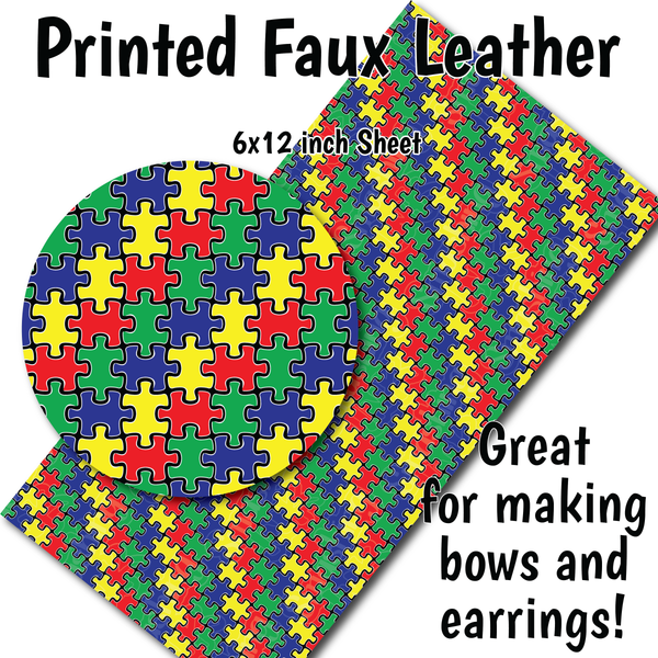 Puzzle Pieces - Faux Leather Sheet (SHIPS IN 3 BUS DAYS)