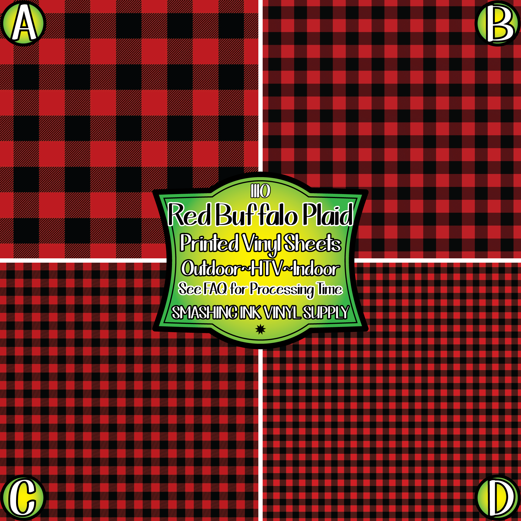 Red Buffalo Plaid - Pattern Vinyl (SHIPS IN 3 BUS DAYS)