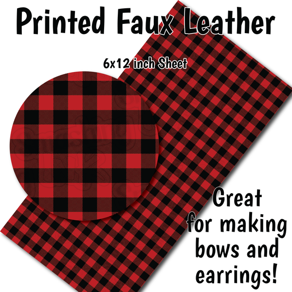Red Buffalo Plaid - Faux Leather Sheet (SHIPS IN 3 BUS DAYS)