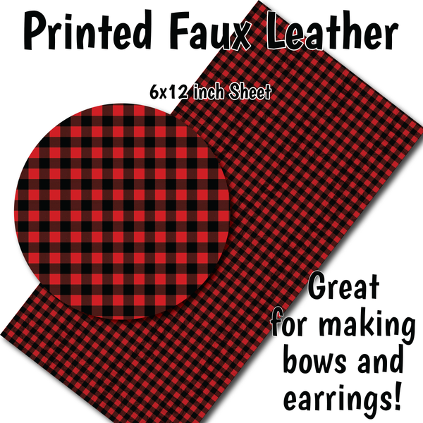 Red Buffalo Plaid Small Scale - Faux Leather Sheet (SHIPS IN 3 BUS DAYS)