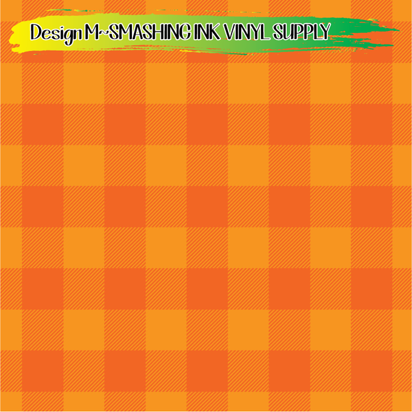 Orange Buffalo Plaid- Pattern Vinyl (SHIPS IN 3 BUS DAYS)