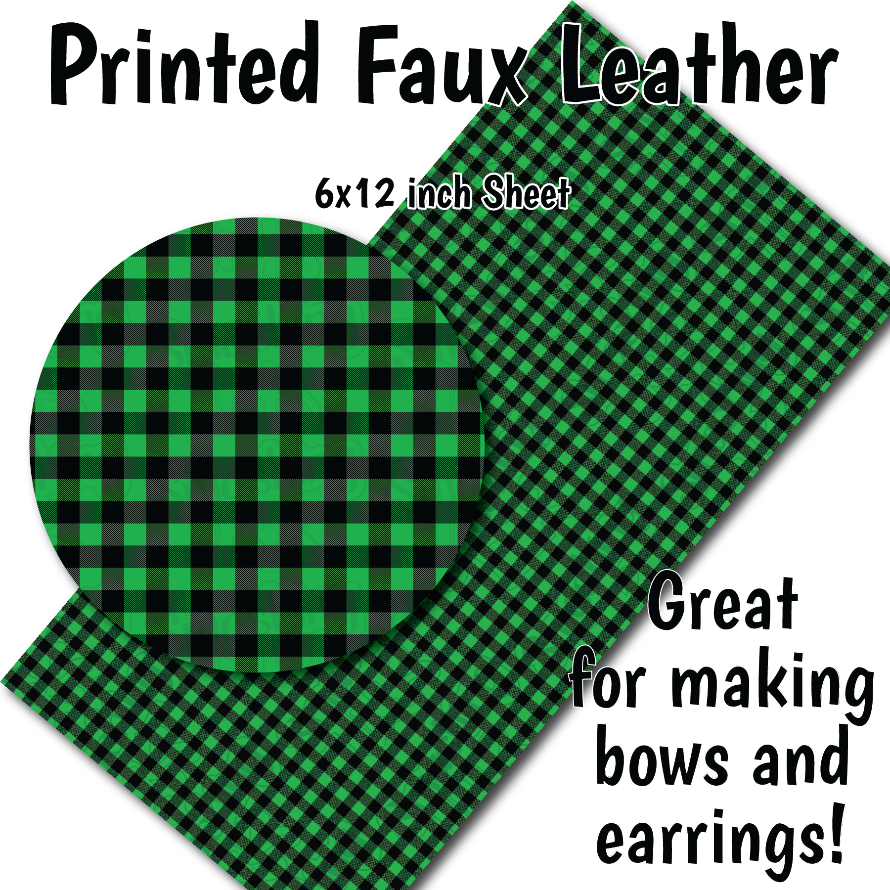 Green Buffalo Plaid D - Faux Leather Sheet (SHIPS IN 3 BUS DAYS)