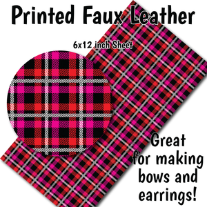 Valentine's Plaid - Faux Leather Sheet (SHIPS IN 3 BUS DAYS)