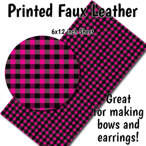 Pink Buffalo Plaid - Faux Leather Sheet (SHIPS IN 3 BUS DAYS)