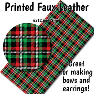 Christmas Plaid - Faux Leather Sheet (MTO-3 BUS DAYS)