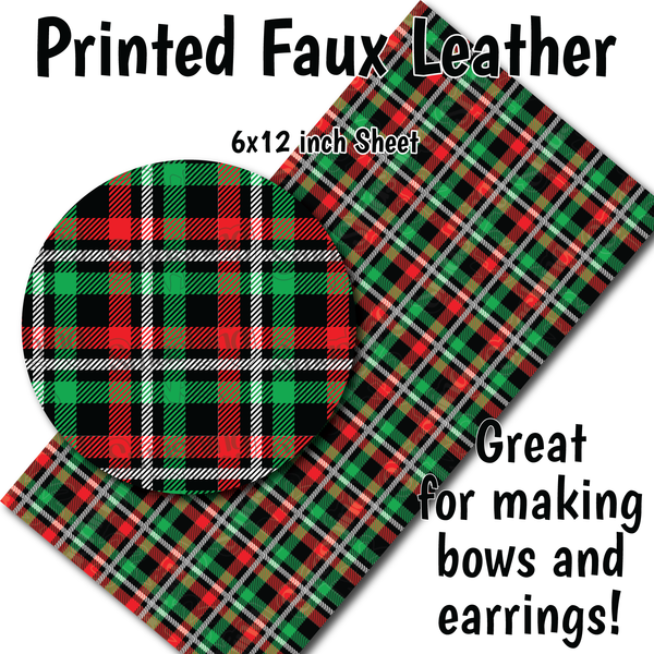 Christmas Plaid - Faux Leather Sheet (SHIPS IN 3 BUS DAYS)