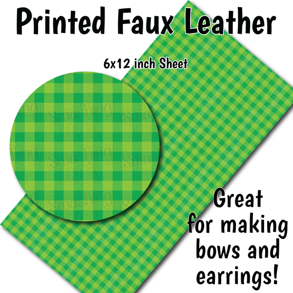 Green Light Green Buffalo Plaid - Faux Leather Sheet (SHIPS IN 3 BUS DAYS)