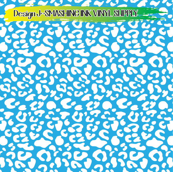 Light Blue White Animal Print - Pattern Vinyl (READY IN 3 BUS DAYS)