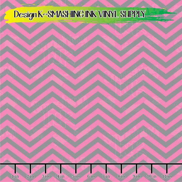 Pink & Grey Chevron- Pattern Vinyl (READY IN 3 BUS DAYS)