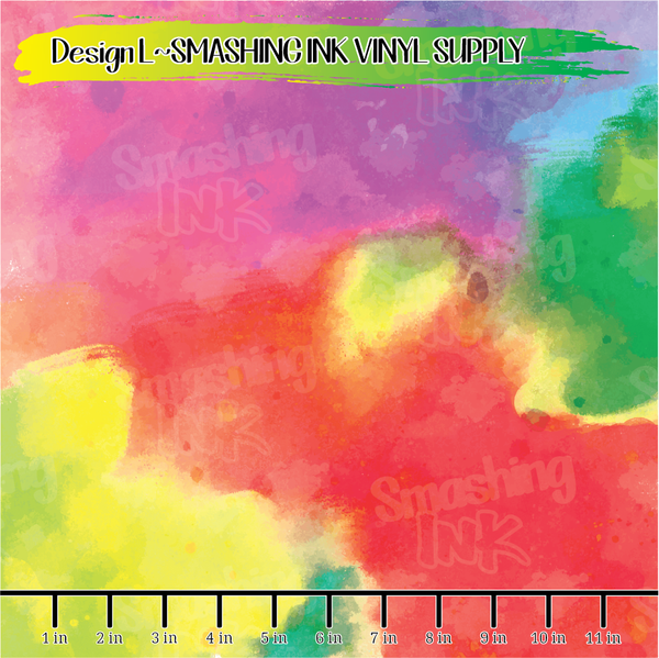 Colorful Watercolor- Pattern Vinyl (READY IN 3 BUS DAYS)