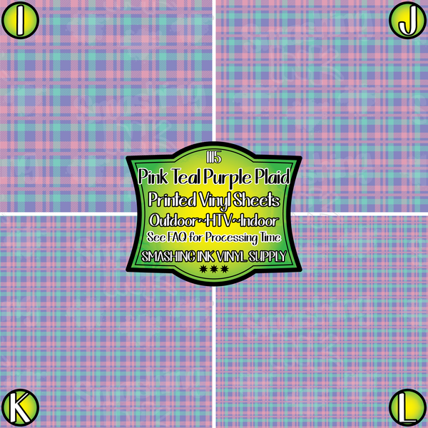 Pink Teal Purple Plaid - Pattern Vinyl (READY IN 3 BUS DAYS)
