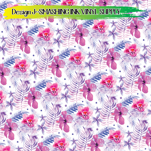 Tropical Flowers - Pattern Vinyl (SHIPS IN 3 BUS DAYS)