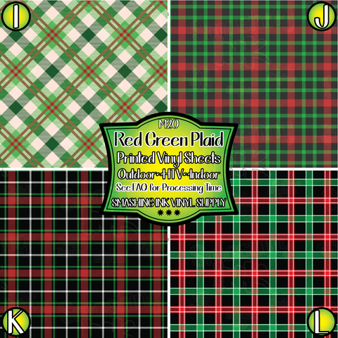 Red Green Black Plaid - Pattern Vinyl (SHIPS IN 3 BUS DAYS)