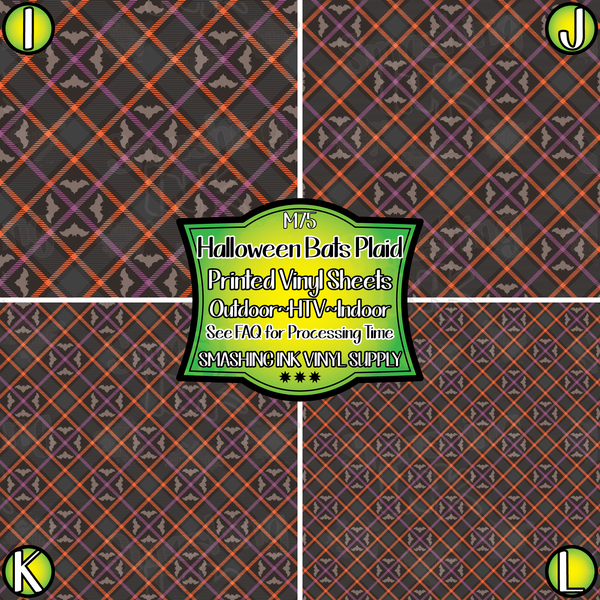 Halloween Bats Plaid - Pattern Vinyl (SHIPS IN 3 BUS DAYS)