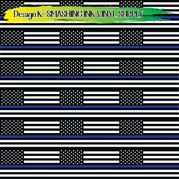 Blue Line Flag - Pattern Vinyl (READY IN 3 BUS DAYS)