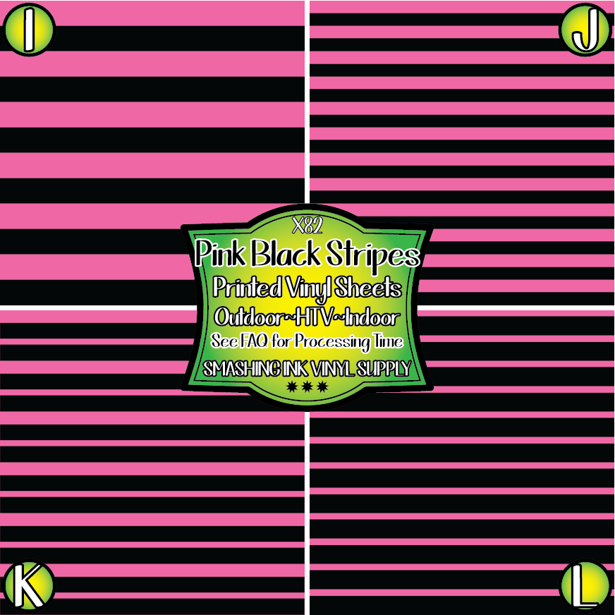 PINK BLACK STRIPES- Pattern Vinyl (READY IN 3 BUS DAYS)