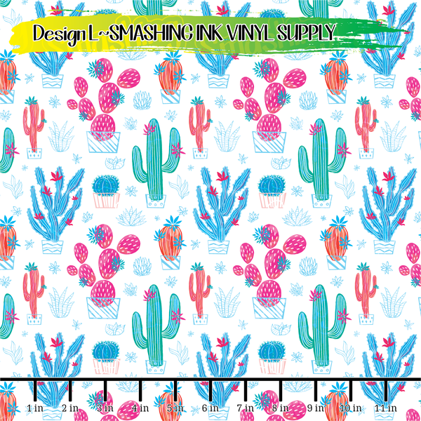 Colorful Cactus - Pattern Vinyl (SHIPS IN 3 BUS DAYS)