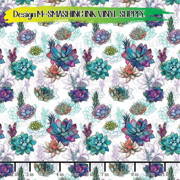 Colorful Succulents - Pattern Vinyl (READY IN 3 BUS DAYS)