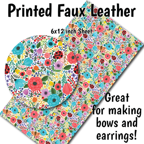 Spring Floral - Faux Leather Sheet (SHIPS IN 3 BUS DAYS)