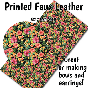 Tropical Flowers - Faux Leather Sheet (SHIPS IN 3 BUS DAYS)
