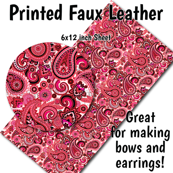 Valentine Paisley - Faux Leather Sheet (SHIPS IN 3 BUS DAYS)