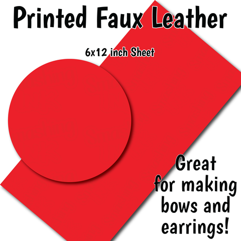 Solid Red - Faux Leather Sheet (SHIPS IN 3 BUS DAYS)