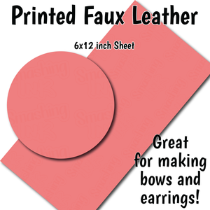 Solid Coral - Faux Leather Sheet (SHIPS IN 3 BUS DAYS)