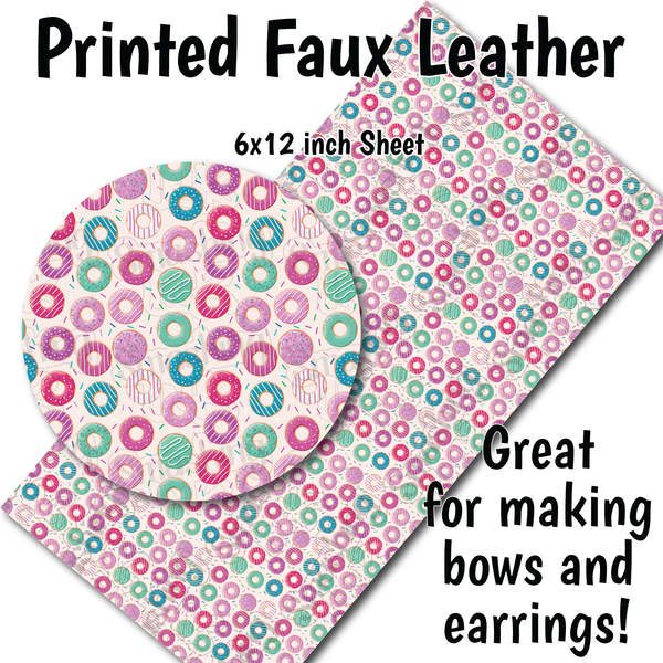 Donut Pattern - Faux Leather Sheet (SHIPS IN 3 BUS DAYS)